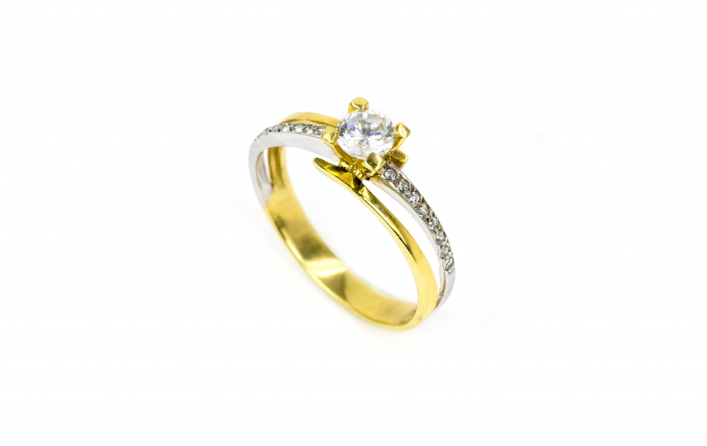 Anel de ouro branco e amarelo